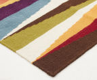 Hannah Pure Wool Flatweave Spikes 400x80cm Large Runner - Multi 2