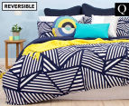 Bambury Elliot Queen Bed Reversible Quilt Cover Set - Navy/White 1