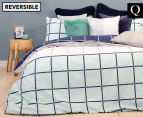 Bambury Harper Queen Bed Reversible Quilt Cover Set - Check Pattern 1