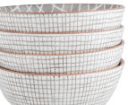 Aspen 13.5cm Grid Bowl 4-Pack - Stone Grey 4