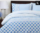 Belmondo Rochelle King Bed Quilt Cover Set - Blue 1
