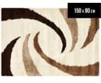 Versa Shag 150x80cm Whirl Design Rug - Ivory/Beige 1