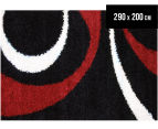 Chicago Shag 290x200cm Gentle Swirl Rug - Black/Red 1