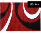 Chicago Shag 150x80cm Gentle Swirl Rug - Red/Black 1