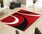 Chicago Shag 150x80cm Gentle Swirl Rug - Red/Black 2