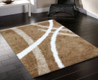 Chicago Shag 150x80cm Gentle Curves Rug - Beige 2