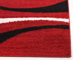 Chicago Shag 150x80cm Gentle Swirl Rug - Red/Black 3