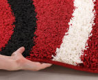Chicago Shag 150x80cm Gentle Swirl Rug - Red/Black 4