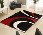 Chicago Shag 290x200cm Gentle Swirl Rug - Black/Red 2