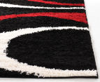 Chicago Shag 290x200cm Gentle Swirl Rug - Black/Red 3