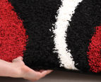 Chicago Shag 290x200cm Gentle Swirl Rug - Black/Red 4