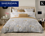 Sheridan Flourish King Bed Standard Quilt Cover Set & Fitted Sheet - Sand 1