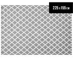 Amalia Scandinavian 225x155cm Flatweave Scandi Lattice Rug - Grey 1