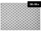 Amalia Scandinavian 280x190cm Flatweave Scandi Lattice Rug - Grey 1