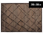 Bedouin Tribal Grid 290x200cm Large Plush Rug - Brown 1