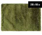 Hand Knotted New Zealand Wool 280x190cm Shag Rug - Green 1