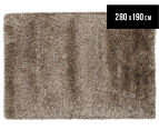 Hand Knotted New Zealand Wool 280x190cm Shag Rug - Straw 1