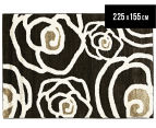 Boston Modern Flower 225x155cm Designer Rug - Black 1