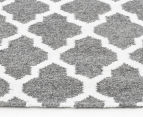 Amalia Scandinavian 280x190cm Flatweave Scandi Lattice Rug - Grey 3