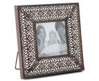 Antique Punched Metal 19x19cm Photo Frame - Brown 2