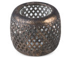 Lustre Antique 12x10cm Hive Punched Tealight Bowl - Aged Gold 2