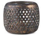Lustre Antique 12x10cm Hive Punched Tealight Bowl - Aged Gold 3