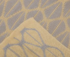 The Peanut Shell Knitted Reversible Bamboo Blanket - Grey/Yellow 3