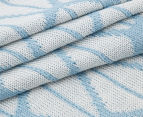 The Peanut Shell Knitted Reversible Bamboo Blanket - Blue 6