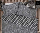 Ardor Arabesque Reversible King Bed Quilt Cover Set - Charcoal 1
