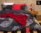 Ardor Paize Reversible Single Bed Quilt Cover Set - Ink 1
