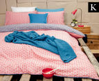 Ardor Peri Reversible King Bed Quilt Cover Set - Navy/Red 1