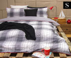 Ardor Wade Reversible Single Bed Quilt Cover Set - Grey 1