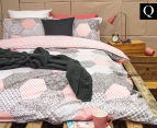 Ardor Madden Reversible Queen Bed Quilt Cover Set - Coral 1
