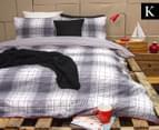 Ardor Wade Reversible King Bed Quilt Cover Set - Grey 1