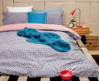 Ardor Peri Reversible Queen Bed Quilt Cover Set - Navy 2