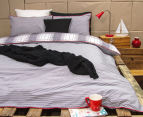 Ardor Peri Reversible King Bed Quilt Cover Set - Navy/Red 2