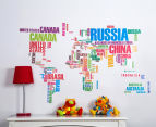 World Map Text Wall Decal 1