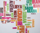 World Map Text Wall Decal 6