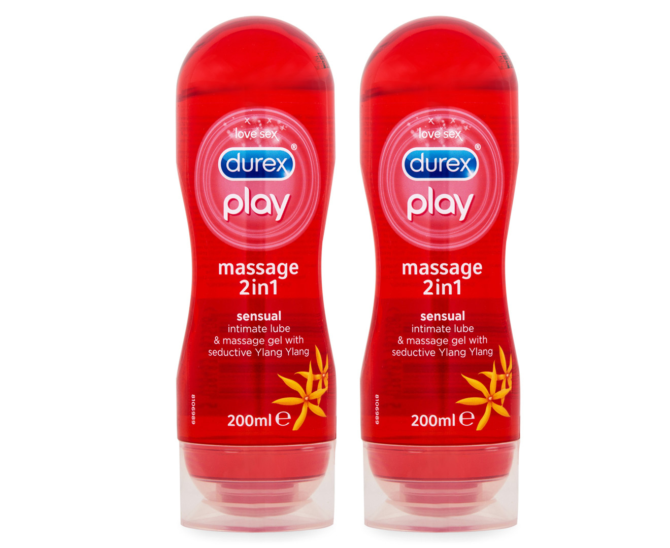2 X Durex Play In 1 Sensual Massage Gel 200ml Silky Lubricant 100ml