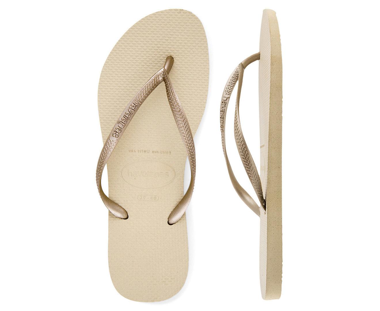 c66fd271e6e62 Havaianas Metallic Slim Thongs - Sand  Light Golden