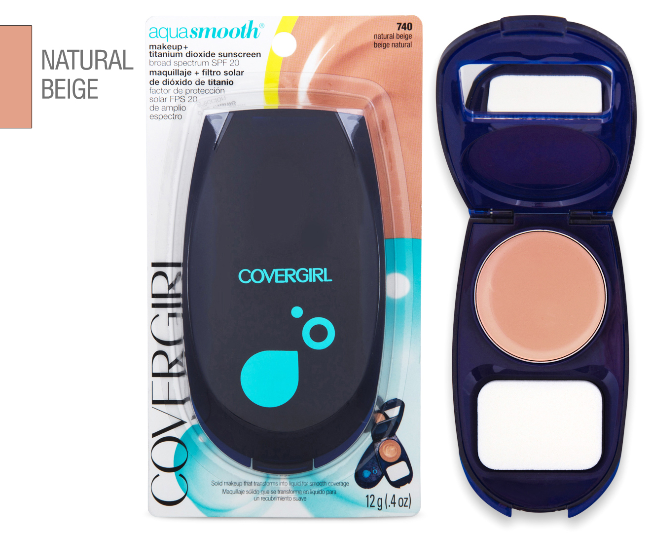 Covergirl Aquasmooth Compact Foundation 740 Natural Beige