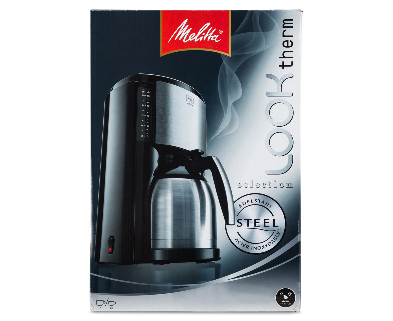 melitta look therm selection coffee machine black silver. Black Bedroom Furniture Sets. Home Design Ideas