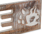 Carved Coffee Mango Wood Wall Hanging - Brown 4