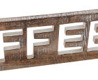 Carved Coffee Mango Wood Wall Hanging - Brown 6