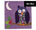 Asiatic Hand Tufted 130x130cm Owl Rug - Purple 1