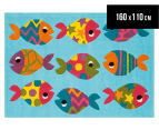 Asiatic Hand Tufted 160x110cm Fish Rug - Blue 1