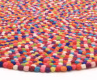 Handcrafted 90x90cm Pure Wool Gumball Rug - Multi 3