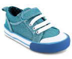 Clarks Kids' Devon Shoe - Light Blue Glitter 2