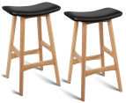 Set of 2 Backless Padded Bar Stools - Black 1