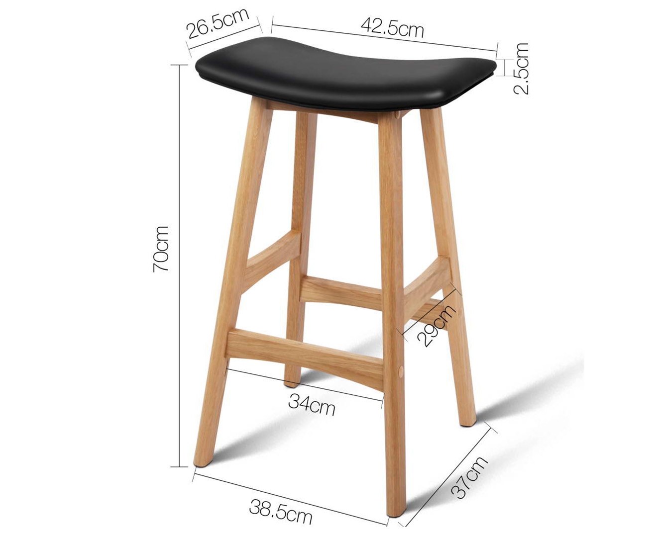 Scoopon Shopping Set Of 2 Backless Padded Bar Stools Black
